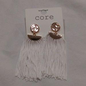Curtain Tassel Earrings in white
